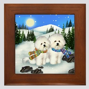 BICHON FRISE DOGS WINTER DAY Framed Tile
