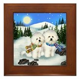 Dog bichon frise Framed Tiles