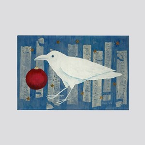 White Crow Holiday Rectangle Magnet