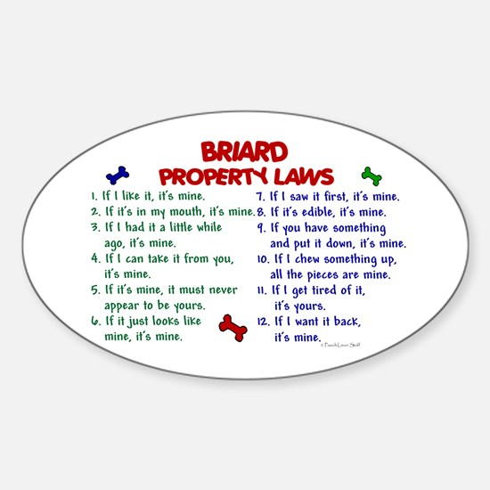 Briard Property Laws 2 Oval Decal