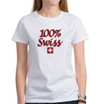 100% Swiss Women's White T-Shirt