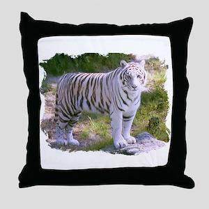 Standing White Tiger Throw Pillow