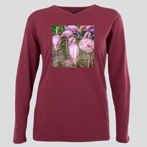 Pink Flamingos Plus Size Long Sleeve Tee