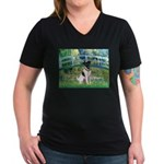 Bridge / Smooth T (#1) Women's V-Neck Dark T-Shirt
