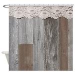 Western Barn Wood Lace Shower Curtain