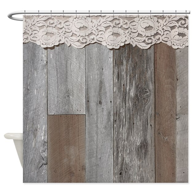 Western Barn Wood Lace Shower Curtain By Rebeccakorpita