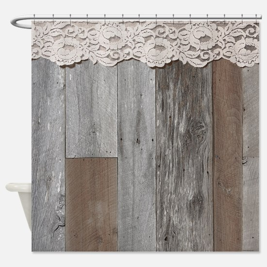 Western Barn Wood Lace Shower Curtain