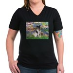 Lilies / Smooth T (#1) Women's V-Neck Dark T-Shirt