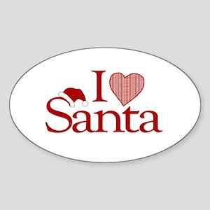 I Love Santa Oval Sticker