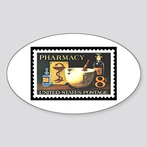 Pharmacist Stamp Collecting Oval Sticker