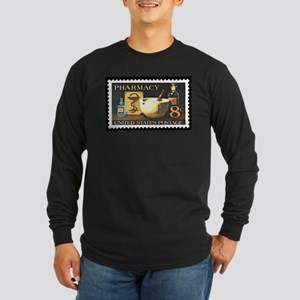 Pharmacist Stamp Collecting Long Sleeve Dark T-Shi