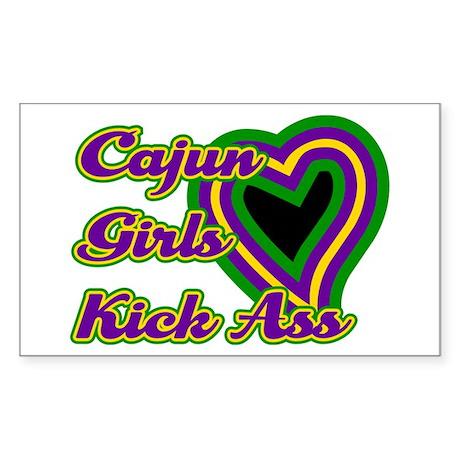 Cajun Girls Kick Ass Rectangle Sticker