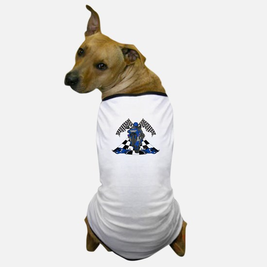 Checkered Flag Sport Bike Dog T-Shirt