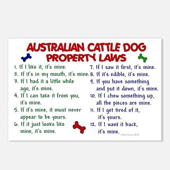 Australian Cattle Dog Property Laws 2 Postcards (P