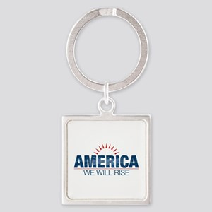 America- We Will Rise Square Keychain
