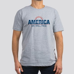 America- We Will Rise Men's Fitted T-Shirt (dark)
