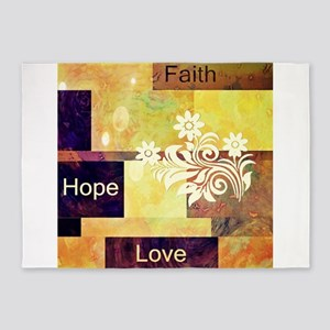 Faith Hope Love 5'x7'Area Rug