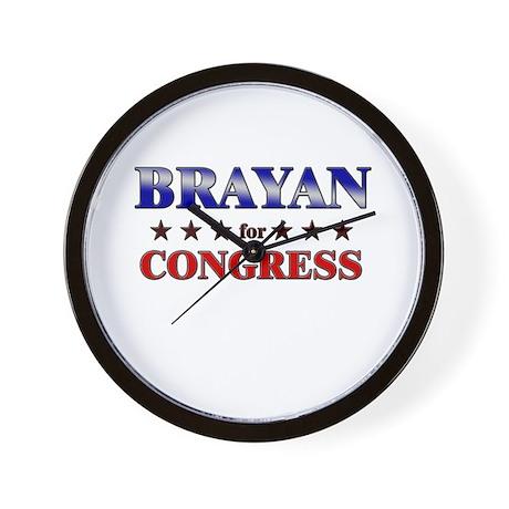 BRAYAN for congress Wall Clock