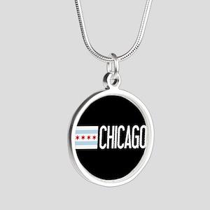 Chicago: Chicagoan Flag & Ch Silver Round Necklace