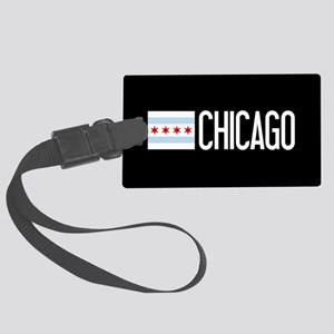 Chicago: Chicagoan Flag & Chicag Large Luggage Tag