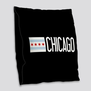 Chicago: Chicagoan Flag & Chic Burlap Throw Pillow