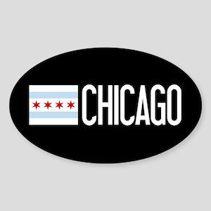 Chicago: Chicagoan Flag & Chicago Sticker (Oval)