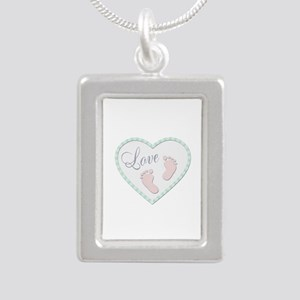 Heart filled with Love and Baby Feet Necklaces