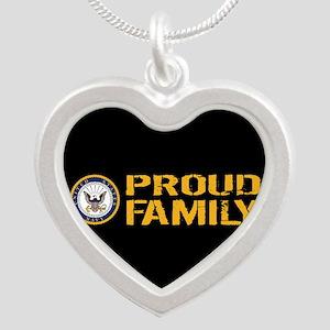 U.S. Navy: Proud Family (Bla Silver Heart Necklace
