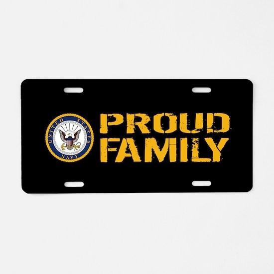 U.S. Navy: Proud Family (Bl Aluminum License Plate