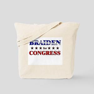 BRAIDEN for congress Tote Bag