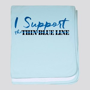 Support the Thin Blue Line baby blanket