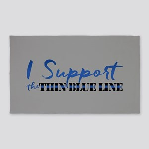 Support the Thin Blue Line Area Rug