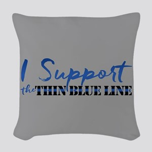 Support the Thin Blue Line Woven Throw Pillow