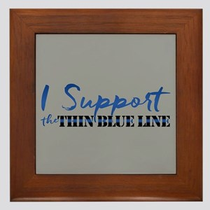 Support the Thin Blue Line Framed Tile