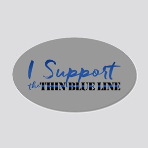 Support the Thin Blue Line 20x12 Oval Wall Decal