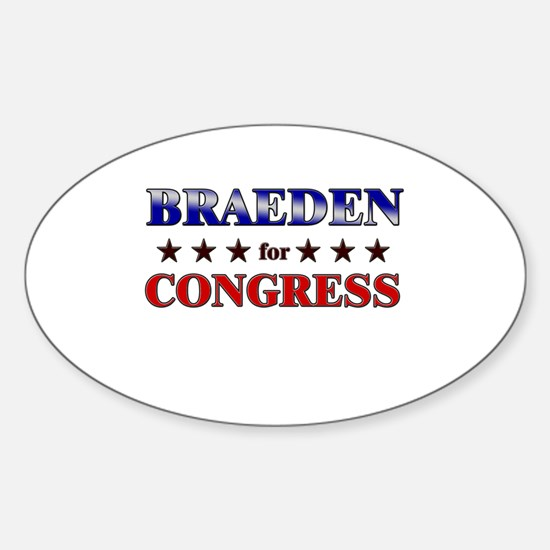 BRAEDEN for congress Oval Decal