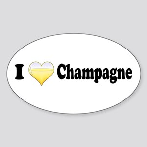 I Love Champagne Oval Sticker