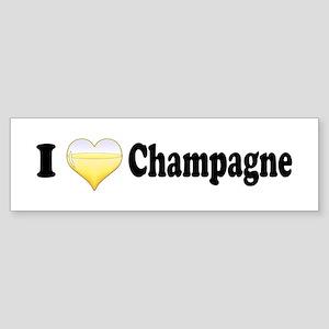 I Love Champagne Bumper Sticker