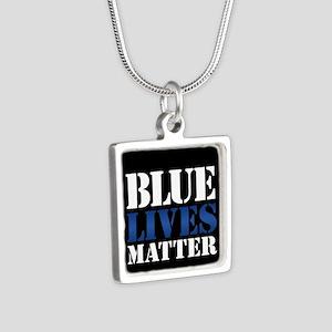 Blue Lives Matter Silver Square Necklace