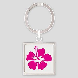 Hot Pink Hibiscus Flower Keychains