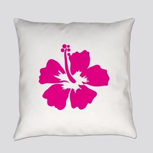 Hot Pink Hibiscus Flower Everyday Pillow