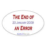 """End of an Error"" Oval Sticker"