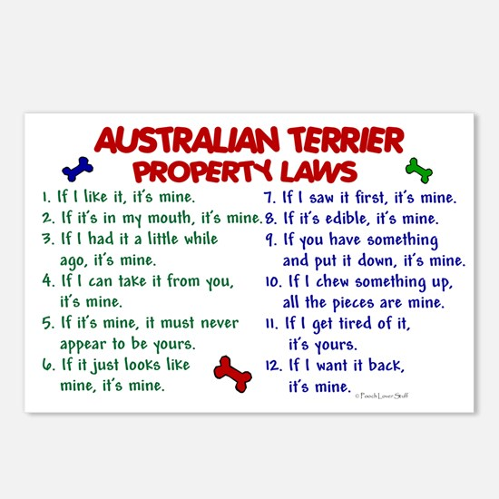Australian Terrier Property Laws 2 Postcards (Pack