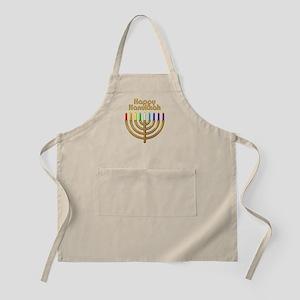 Happy Hanukkah Rainbow Menorah Apron