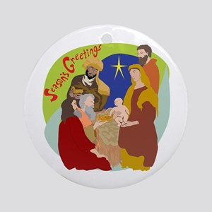 Colorful Nativity Ornament (Round)