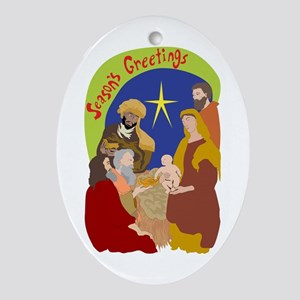 Colorful Nativity Oval Ornament