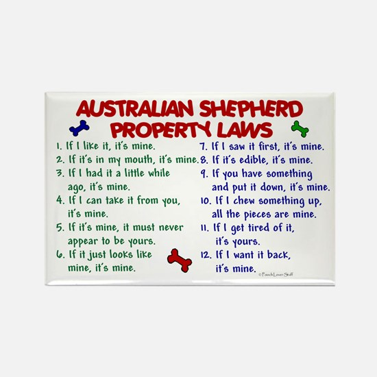 Australian Shepherd Property Laws 2 Rectangle Magn