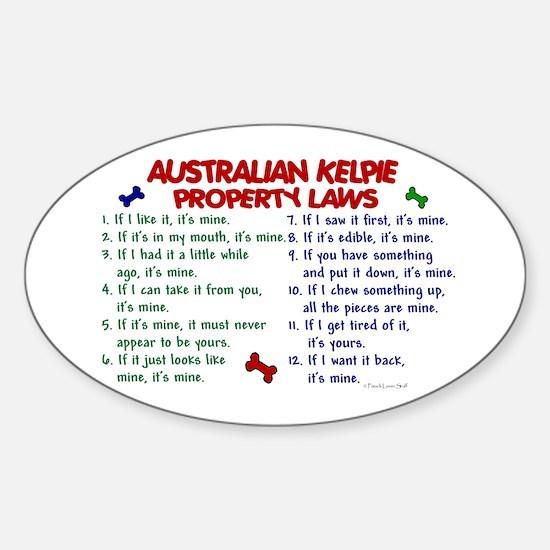 Australian Kelpie Property Laws 2 Oval Decal