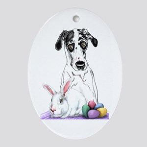 Great Dane Easter Rabbits? Oval Ornament