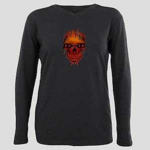 Flame Skull Plus Size Long Sleeve Tee